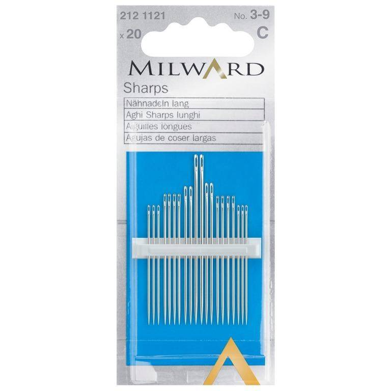 Hand Sewing Needles: Sharps: Nos.3-9: 20 Pieces