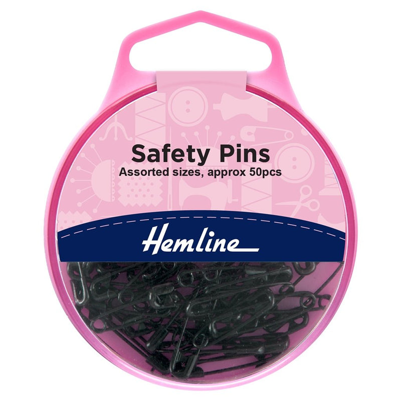 Safety Pins: Assorted: Black: 50 Pieces