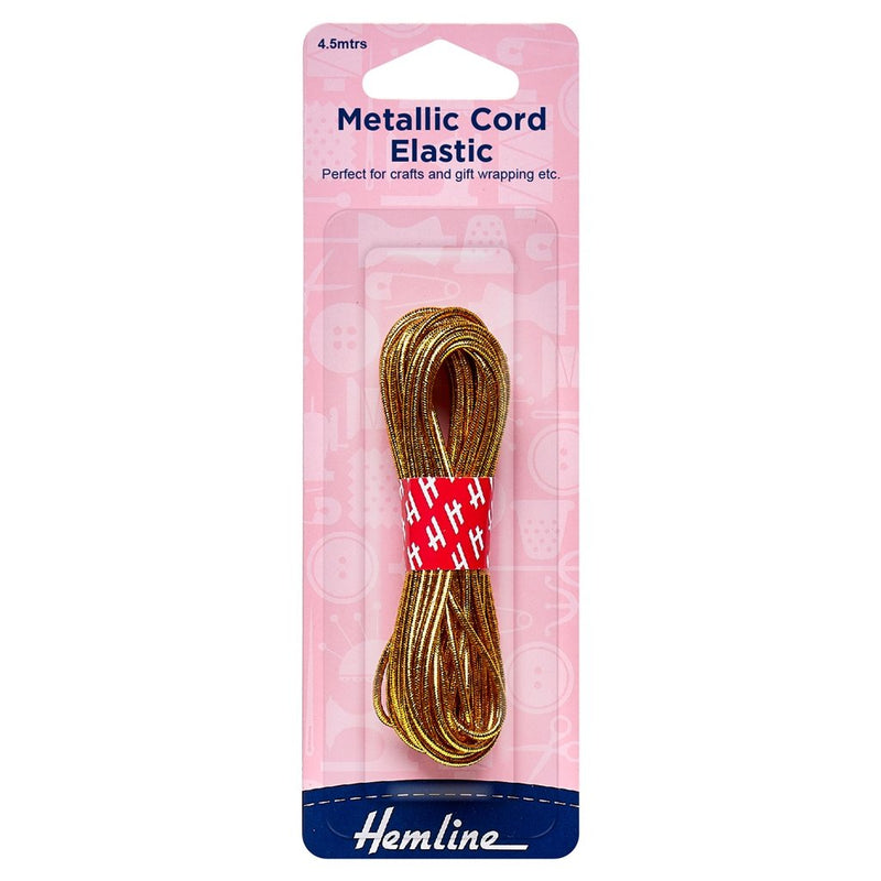 Elastic Cord Metallic: 4.5m x 1.3mm: Gold
