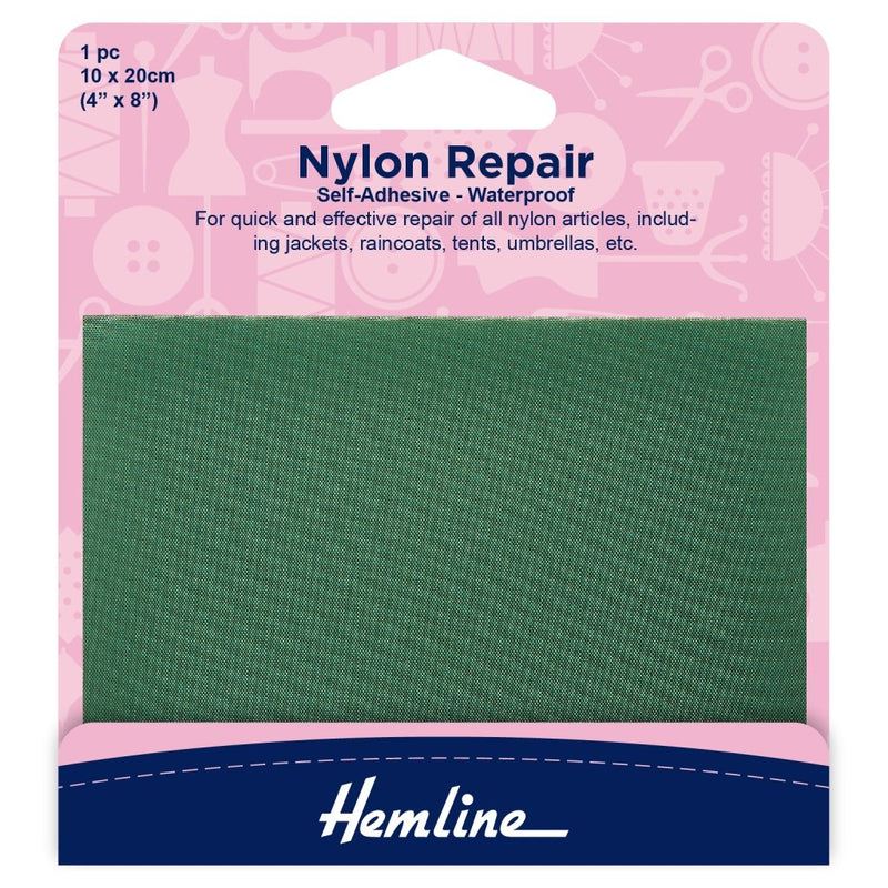 Nylon Repair Patch Self Adhesive: Green - 10 x 20cm