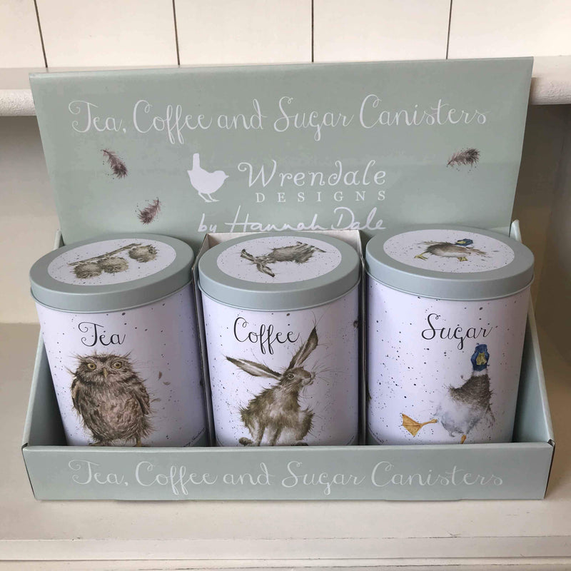 Wrendale Tea Coffee and Sugar Canisters in Owl Hare and Duck Design