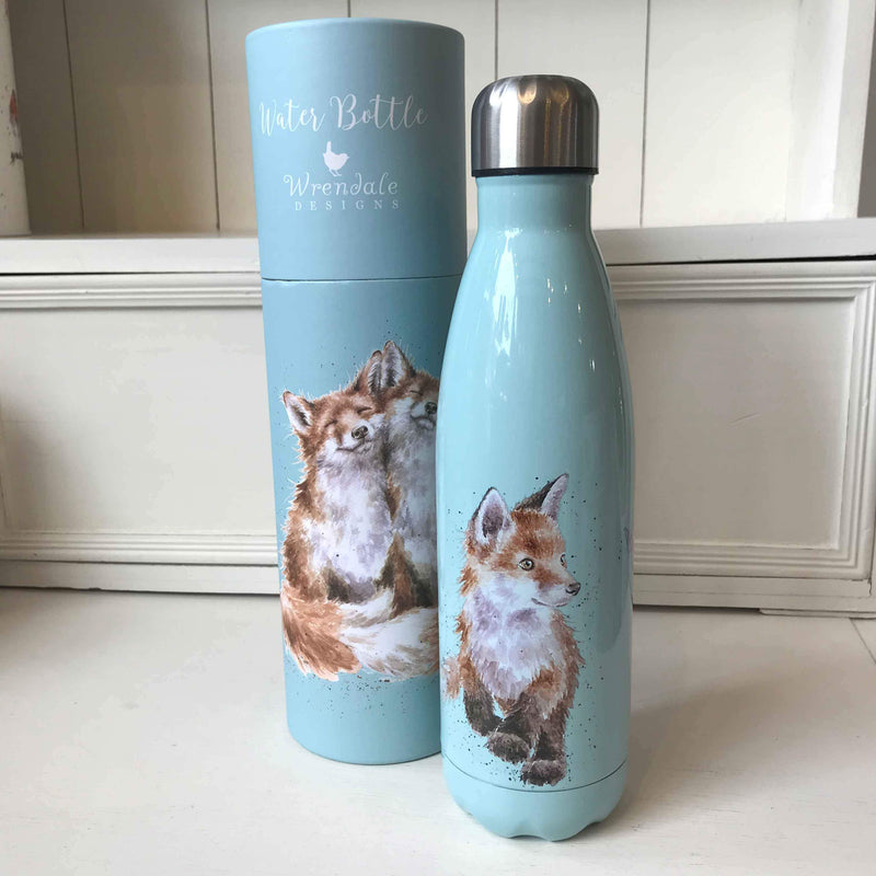 Wrendale Water Bottle and Gift Box in Foxes Design