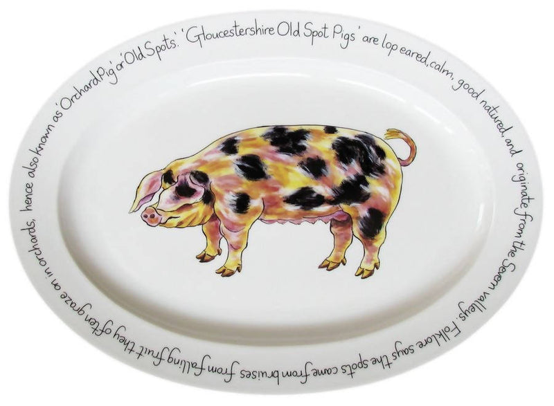 "Richard Bramble Gloucestershire Old Spot Pig 39cm Oval (15.4"") Platter"