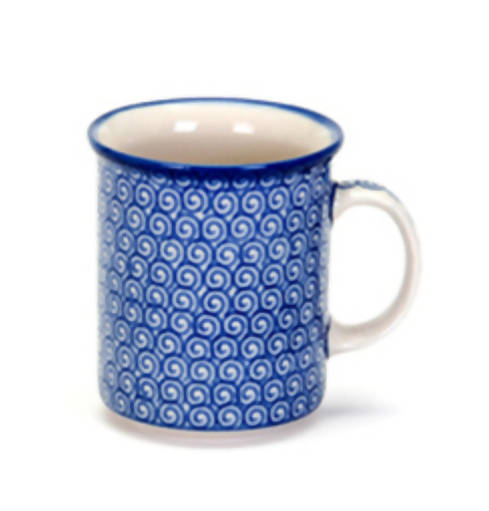 Polish Pottery Everyday Mug, 8.3cm high, capacity 0.35ltr, assorted designs.