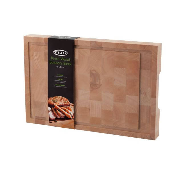Stellar Beech Wood Butchers Block 40 x 26 x 4cm