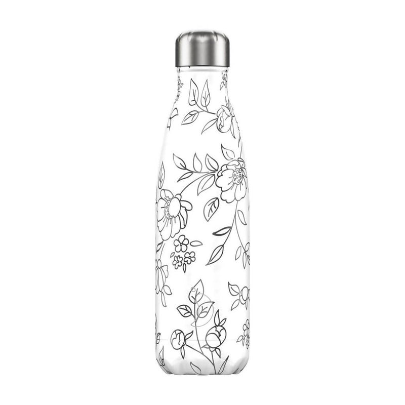 Chilly's Line Art Flowers Insulated Drinks Bottle 500ml