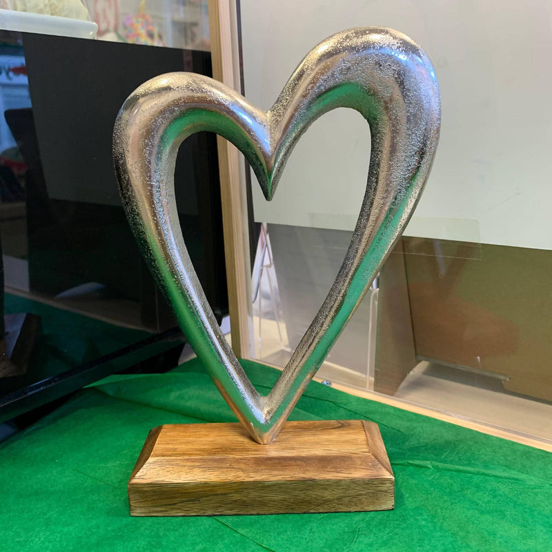 Silver Metal Heart on Wooden Stand - Large