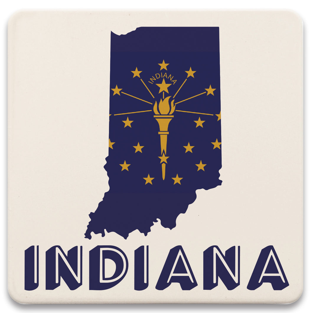 Indiana State Flag Outline Absorbent Coaster Set