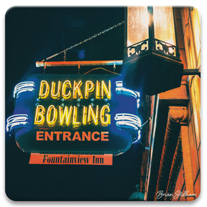 Duckpin Bowling Sign Photograph Absorbent Coaster Set