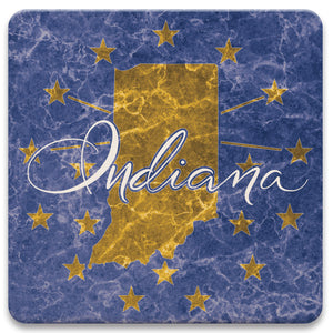 Indiana State Flag Coaster Set