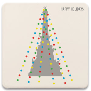 Monument Circle Holiday Lights Absorbent Coaster Set