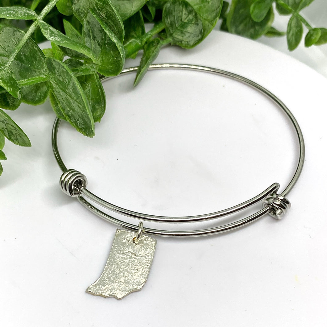 Indiana Love Sterling Silver Charm on Stacking Bangle Bracelet