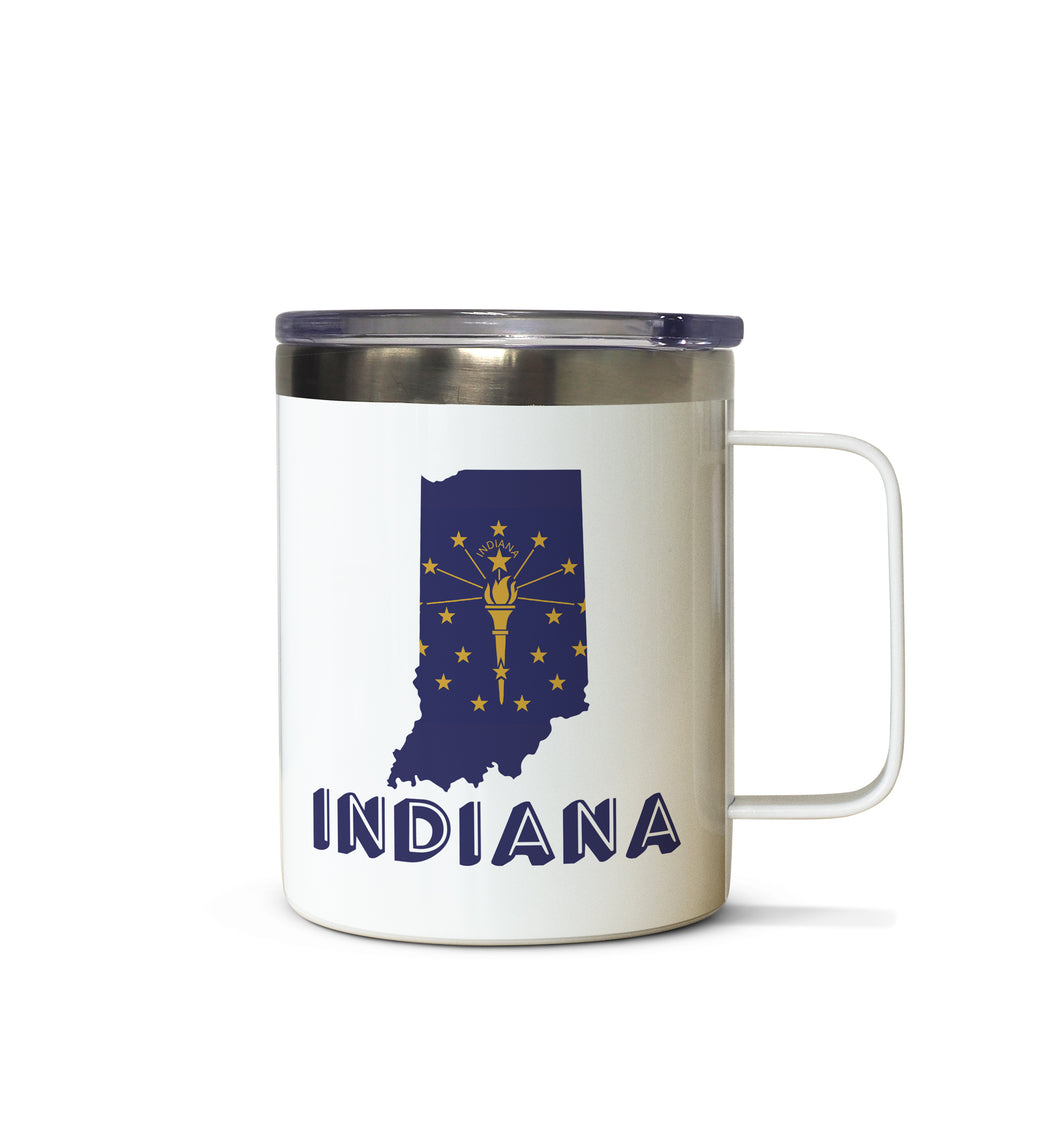 Indiana State Flag Outline Stainless Steel Tazza Mug
