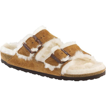 Women's Birkenstock Arizona Shearling Narrow in Mink Tan/ Natural sku: 1001128