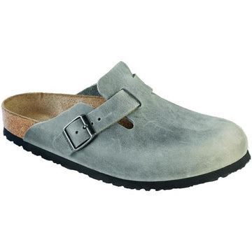 Women's Birkenstock Boston Soft Footbed Regular in Iron Oil sku: 1013255
