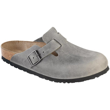 Women's Birkenstock Boston Soft Footbed Narrow in Iron Oil sku: 1013256