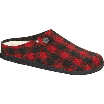 Women's Birkenstock Zermatt Shearling Narrow in Plaid Red/ Natural sku: 1017544