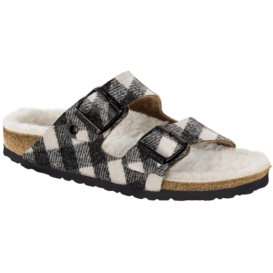 Women's Birkenstock Arizona Shearling Narrow in Plaid White/ Natural sku: 1018114