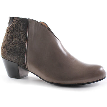 Tape Zip Bootie Taupe Floral