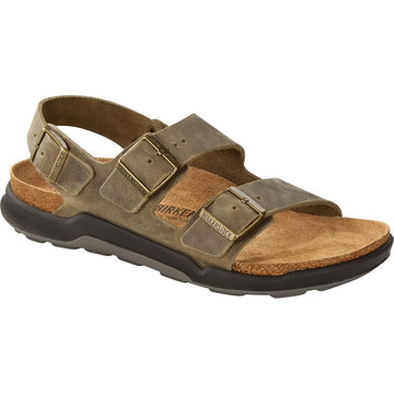 Quarter view Men's Birkenstock Footwear style name Milano Regular in color Faded Khaki Oil. Sku: 1018427