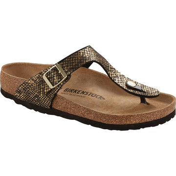 Quarter view Women's Birkenstock Footwear style name Gizeh Regular in color Shiny Python Black Microfiber. Sku: 1018464