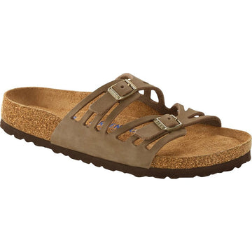 Quarter view Women's Birkenstock Footwear style name Granada Soft Footbed Regular in color Faded Khaki Nubuck. Sku: 1018820