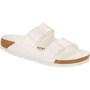 Quarter view Women's Birkenstock Footwear style name Arizona Birko Flor Narrow in color White. Sku: 1019046