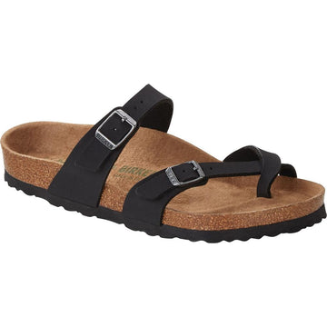 Quarter view Women's Birkenstock Footwear style name Mayari Vegan Birkibuc Regular in color Black. Sku: 1019221