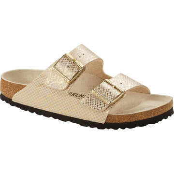 Quarter view Women's Birkenstock Footwear style name Arizona Narrow in color Shiny Python Eggshell Microfiber. Sku: 1019374