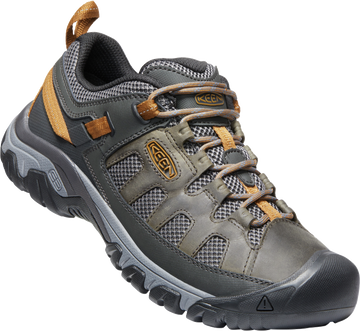 Quarter view Men's Keen Footwear style name Targhee Vent in color Raven/ Bzbr. Sku: 1020743
