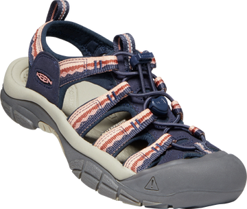 Quarter view Women's Keen Footwear style name Newport H2 in color Navy/ Rose Dawn. Sku: 1023967