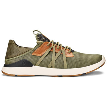 Quarter view Men's Olukai Footwear style name Mio Li in color Hunter/ Lava Rock. Sku: 10440-HGLR