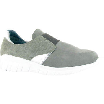 Women's Naot Intrepid Slip On in Gray Nubuck/ Speckled Beige Leather sku: 10817-NPA