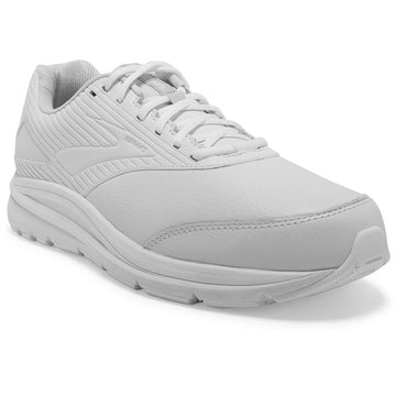 Quarter view Men's Brooks Footwear style name Addiction Walker 2 Double Wide in color White. Sku: 110318-4E142