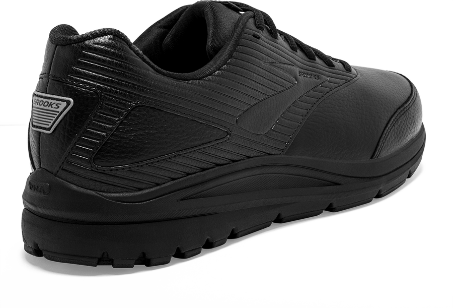 Back view Men's Brooks Footwear style name Addiction Walker 2 Double Wide in color Black. Sku: 110318-4E072