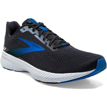 Quarter view Men's Brooks Footwear style name Launch 8 Wide in color Black/ Grey/ Blue. Sku: 110358-2E018