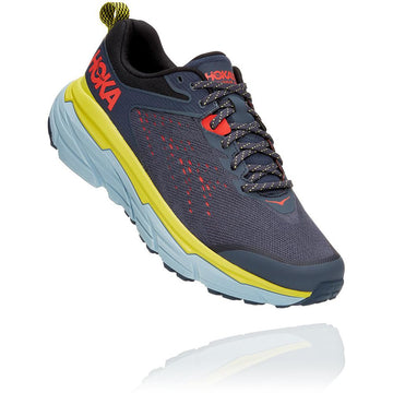 Quarter view Men's Hoka Challenger Atr 6 Wide in Ombre Blue/ Green Sheen. Sku: 1106513OBGS