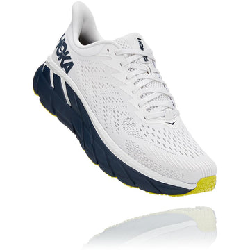 Men's Hoka Clifton 7  in Blanc De Blanc/ Black Iris. Sku: 1110508BDBBI