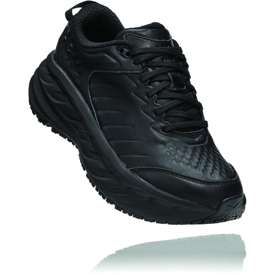 Quarter view Men's Hoka Bondi Slip Resistant in Black. Sku: 1110520BBLC