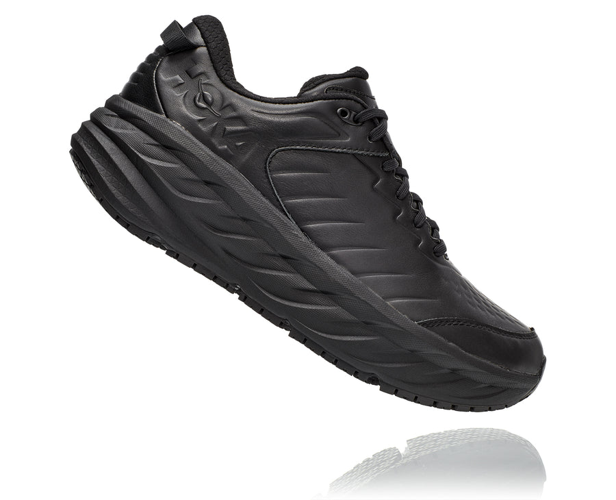 Side view Men's Hoka Bondi Slip Resistant in Black. Sku: 1110520BBLC