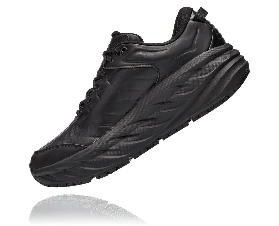 Inside view Men's Hoka Bondi Slip Resistant in Black. Sku: 1110520BBLC