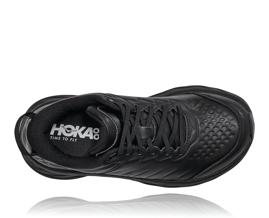 Top down view Women's Hoka Bondi Slip Resistant in Black. Sku: 1110521BBLC
