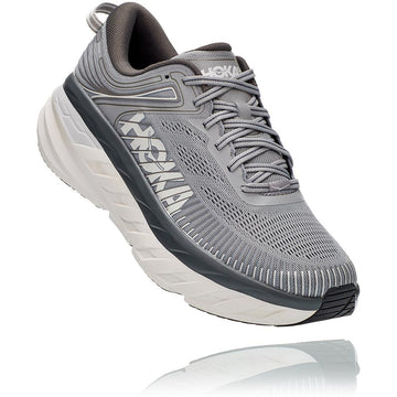 Men's Hoka Bondi 7 Wide in Wilddove/ Dark Shadow. Sku: 1110530WDDS