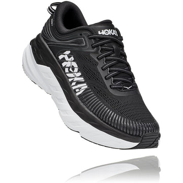 Women's Hoka Bondi 7 Wide in Black/ White. Sku: 1110531BWHT