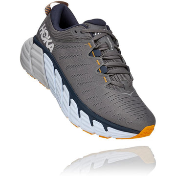 Quarter view Men's Hoka Gaviota 3  in Charcoal Gray/Ombre Blue. Sku: 1113520CGOB