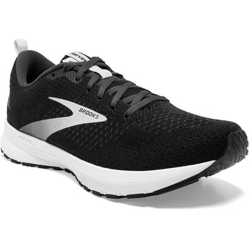 Quarter view Women's Brooks Footwear style name Revel 4 Medium in color Black/ Oyster/ Silver. Sku: 120337-1B063
