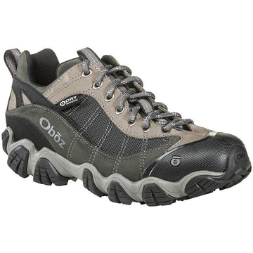 Quarter view Men's Oboz Footwear style name Firebrand Ii Low B-Dry in color Gray. Sku: 21301-GRY