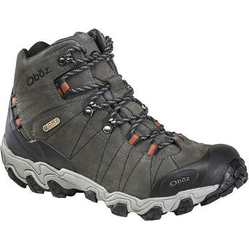 Quarter view Men's Oboz Footwear style name Bridger Mid B-Dry in color Raven. Sku: 22101-RAV