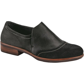 Women's Naot Angin in Black Velvet Nubuck/ Soft Black Leather/ Oily Coal Nubuck sku: 26054-NMN