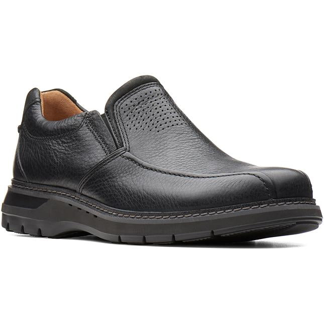 Clarks Un Ramble Step Black Tumbled Leather